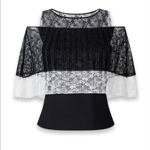 Anne Fontaine Two-Tone Pleated Lace Cape Tank Top